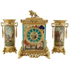 "French ""Japonisme"" Gilt-Metal Mounted Three-Piece Porcelain Clock Garniture"