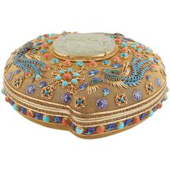 Exceptional Chinese Silver Gilt Filigree Box and Cover with Jade and Enamel