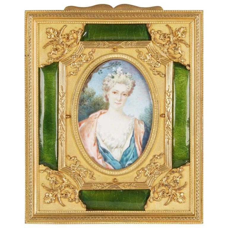 French Gilt Bronze Ormolu and Green Guilloche Enamel Picture Photo Frame For Sale