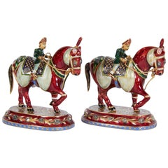 Pair of Jaipur Indian 22-Karat Gold Enamel & Diamonds Horse-Riders Chess Figures