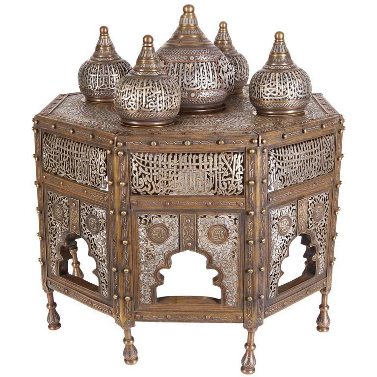 Large Islamic Silver Inlaid Domed Incense Burner with Arabic Calligraphy Moorish