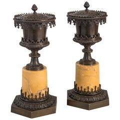 A Pair of French Gothic Revival Patinated Bronze and Sienna Marble Incence Burne