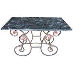 French Marble Top Baker's Table, circa 1890