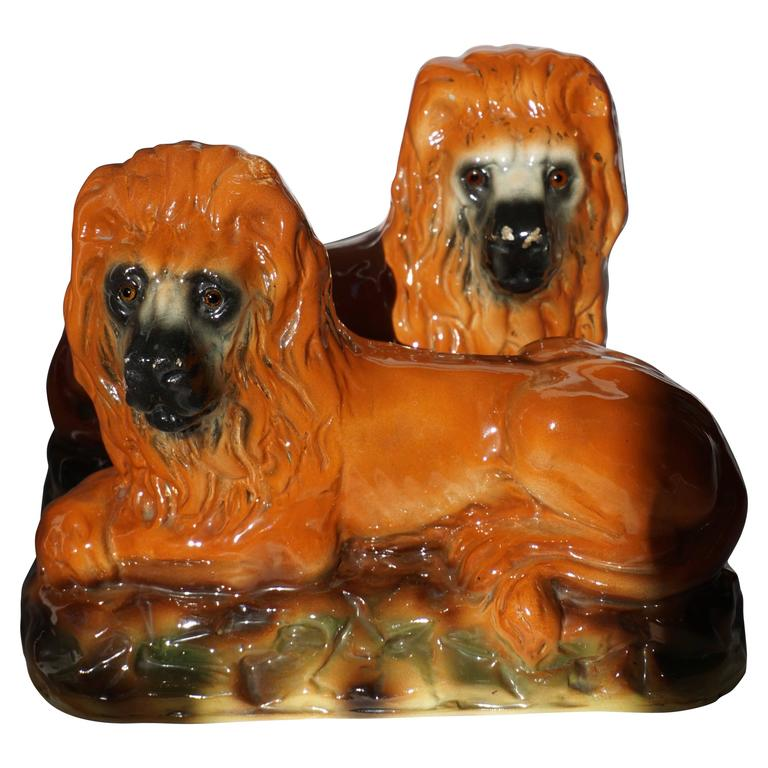 Two Ceramic Lions For Sale