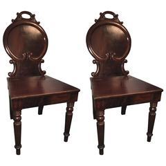 Pair of English Regency Mahogany Hall Chairs, circa 1850