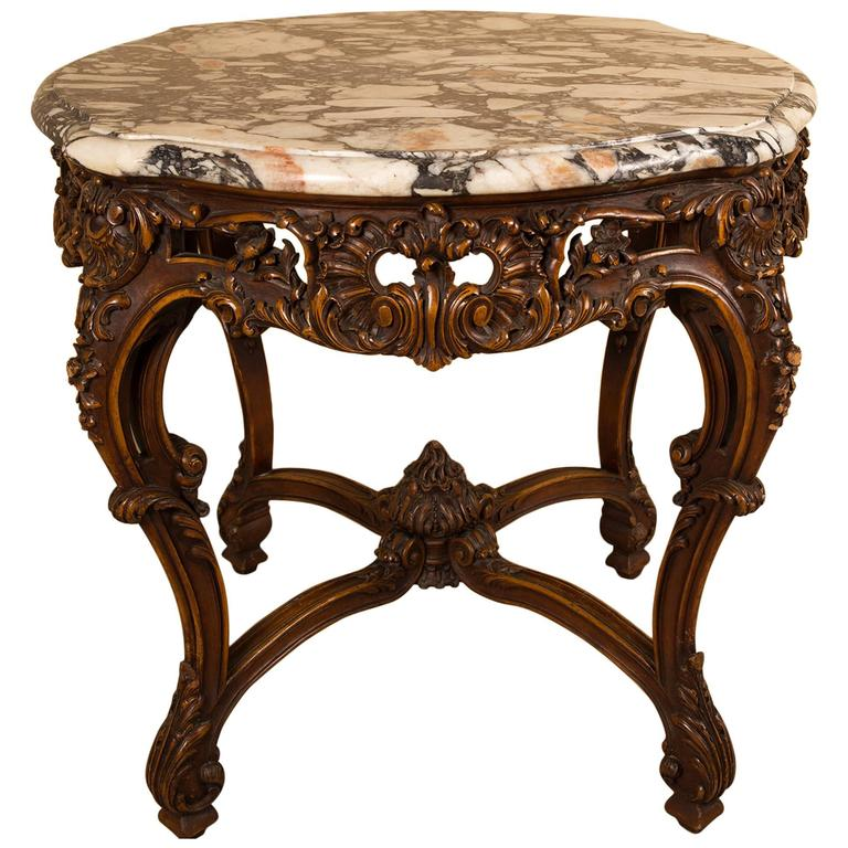 Louis Xv Style Carved Coffee Table With A Marble Top By