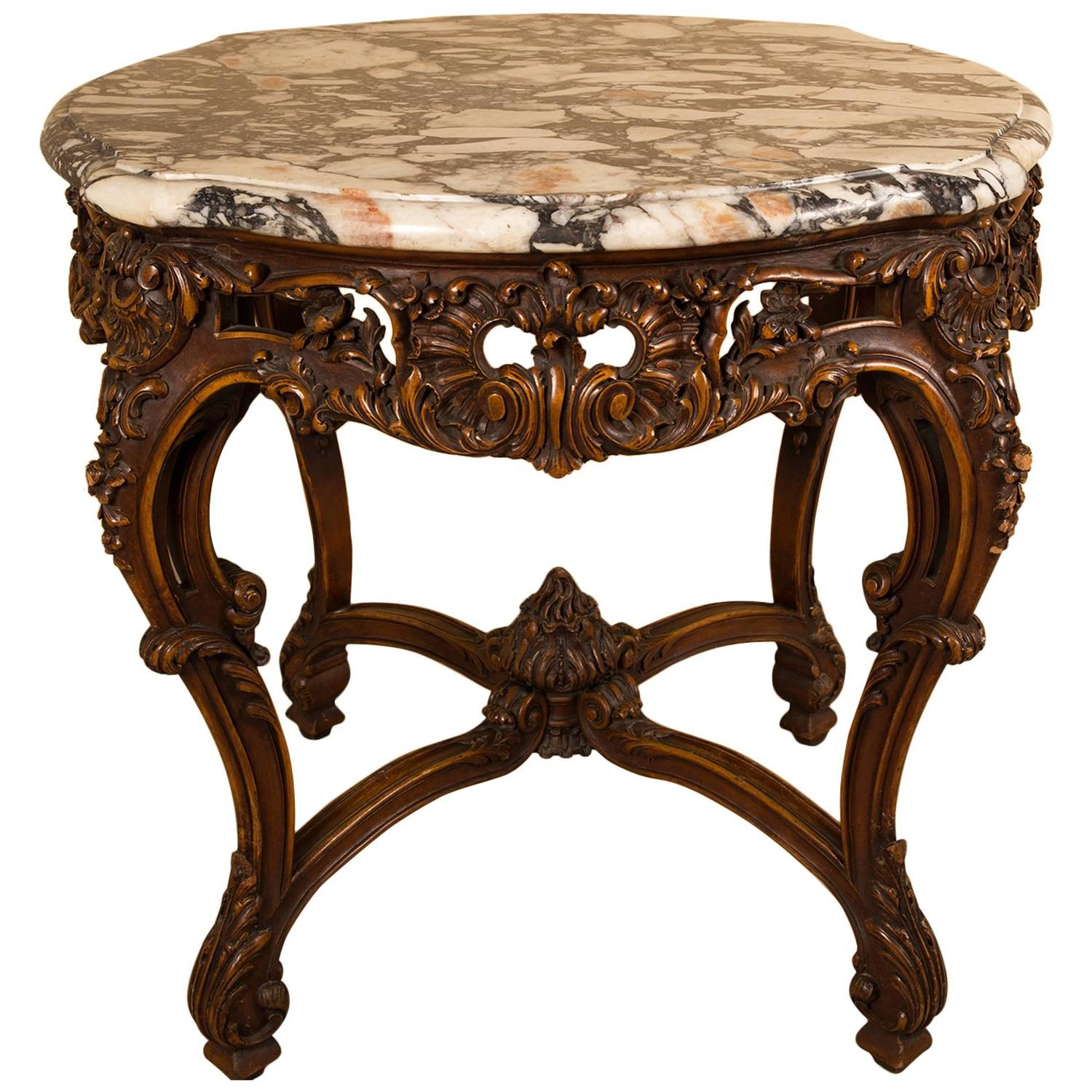 Pretty Round Coffee Table Louis XV Style Gilded Wood and marble