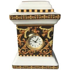 """Versace """"Barocco"""" Pattern Table Clock by Rosenthal Porcelain, Germany"""