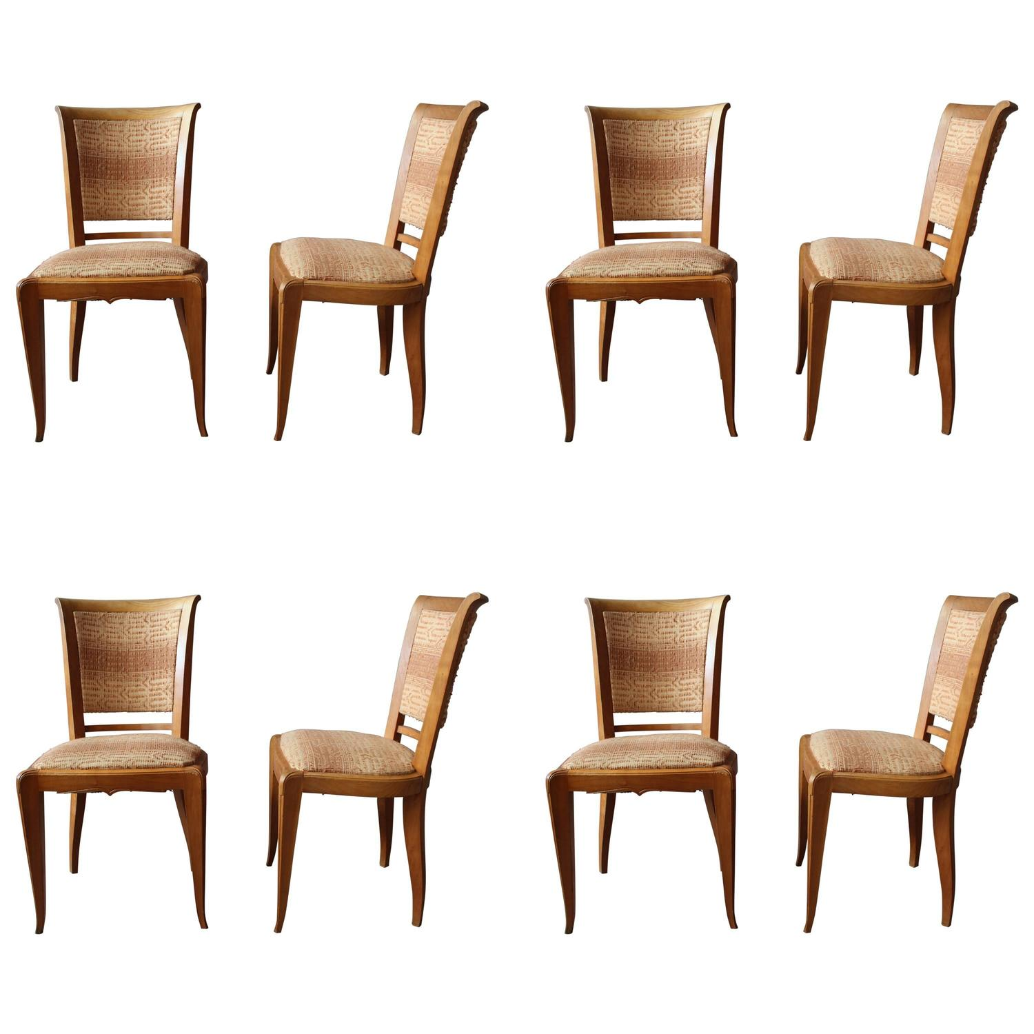 Set Of Eight Fine French Art Deco Cherry Dining Chairs For