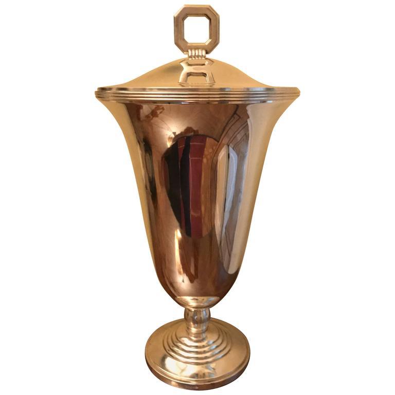 Christofle Luc Lanel Art Deco Vase Normandie Silver plate Urn