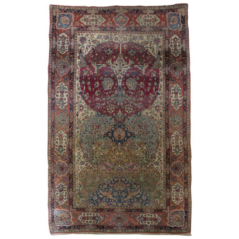 Fine Antique Persian Isfahan Large Rug Natural Colors For