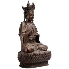 Ancient Chinese Ming Dynasty Gilt Lacquered Seated Guanyin Buddha, 1450 AD
