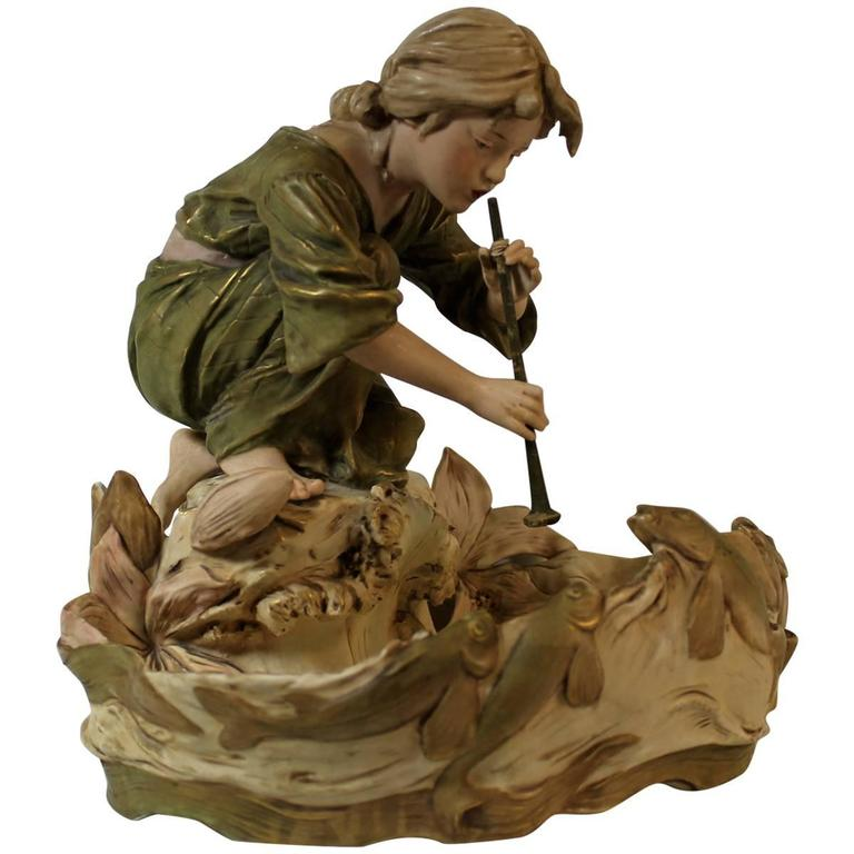 Royal DUX Art Nouveau Figural Centerpiece