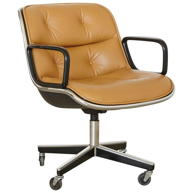 Attirant Original Charles Pollock Executive Chair Upholstered In Edelman Leather For  Sale
