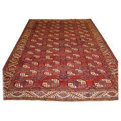 Antique Kizyl Ayak Ersari Turkmen Main Carpet, 'Tauk Nuska' Gul Design