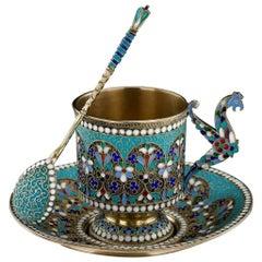 Antique Imperial Russian Solid Silver Enamel Cup Saucer Spoon, circa 1890