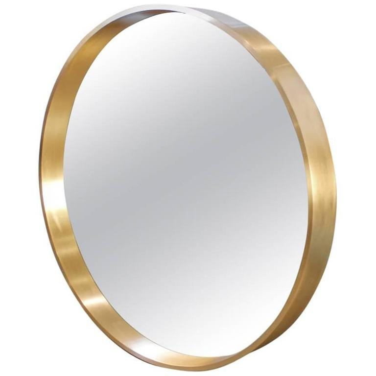 Large Round Oculus Mirror In Solid Bronze