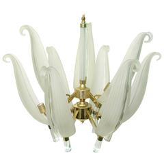 Franco Luce Murano Glass Chandelier with Leaf Motif