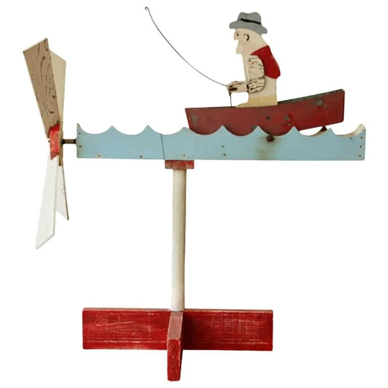 Vintage Painted Wood Row Boat Motion Whirligig At 1stdibs