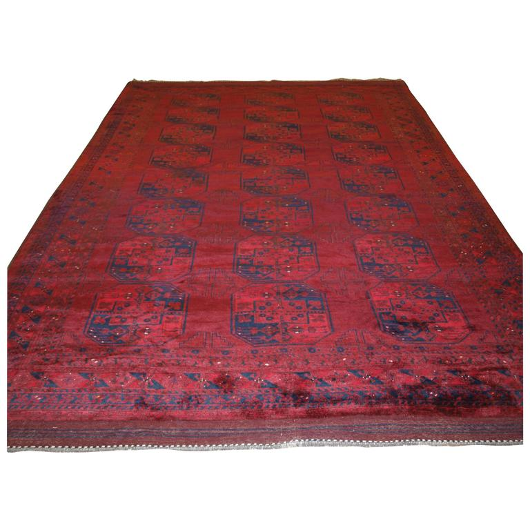 Old Red Afghan Village Carpet with Traditional Design, circa 1920