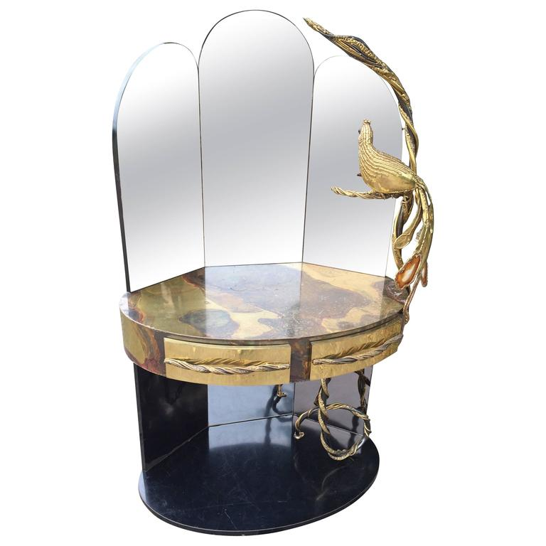 Vanity Lighting For Dressing Table : Isabelle Masson Faure Vanity Dressing table with peacock lighting sculpture For Sale at 1stdibs