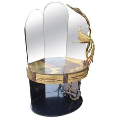 Isabelle Masson Faure Vanity Dressing table with peacock lighting sculpture