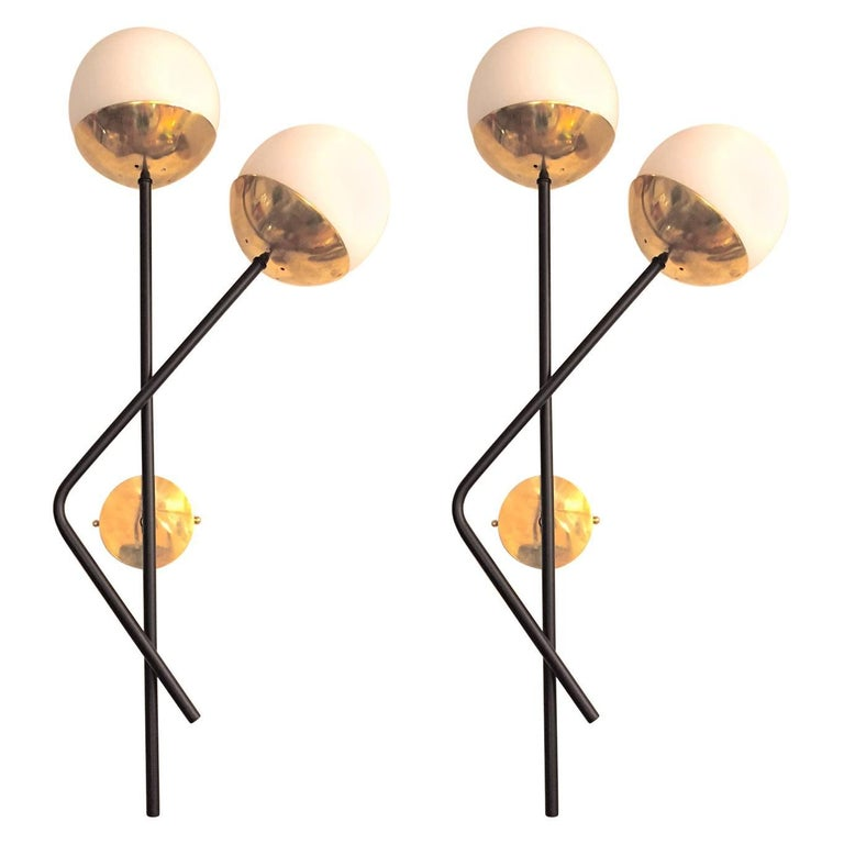 Pair of Italian  Murano Glass and Brass Sconces For Sale