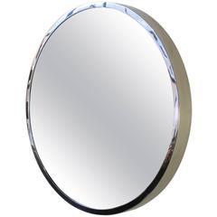 "Large Round ""Oculus"" Mirror in Polished Stainless Steel"
