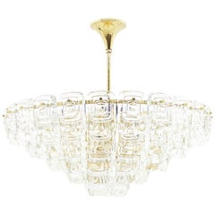 Large Five Tiers Gilded Glass Chandelier, 1960s