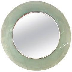 Cristal Art Green Round Wall Mirror, 1950s