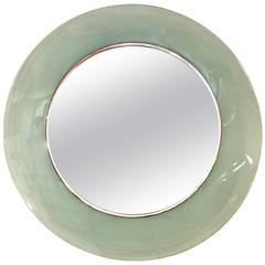 Cristal Art Green Round Wall Mirror, 1950s