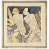 Cubist Gouache Painting by Nicholas Takis