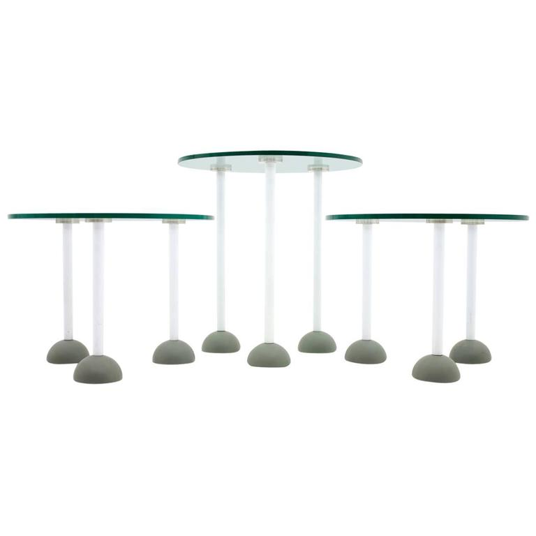 Set of Three Glass Tables with Wheels, Memphis, 1987