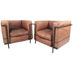 Pair of Vintage Modern Le Corbusier Style Leather and Brass Lounge Chairs