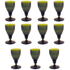 Set of 11 Green Wine Glasses