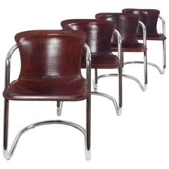 Set of Four Cognac Leather Willy Rizzo Dining Chairs