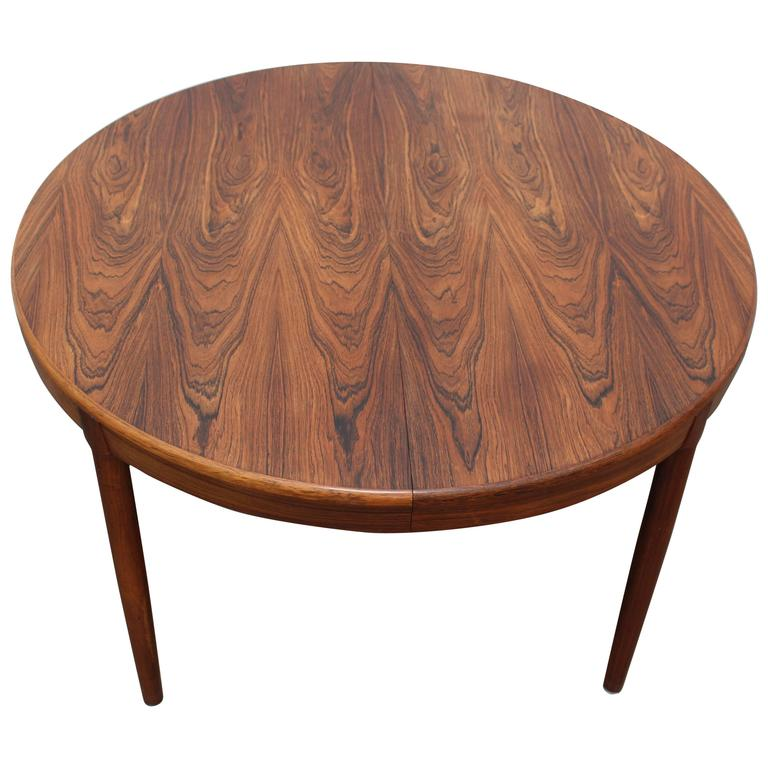 extendable round rosewood dining table danish mid