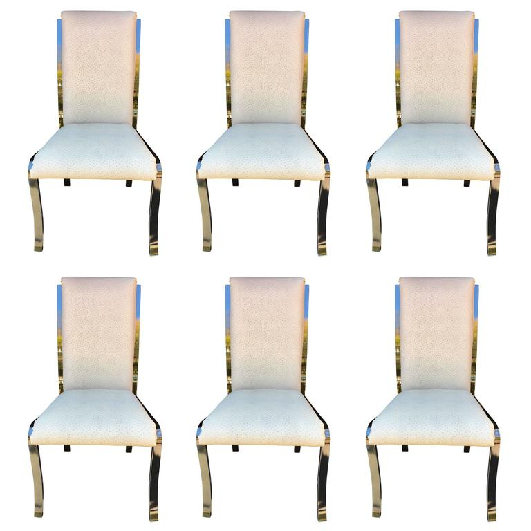 Set Of Six Design Institute America Ostrich Leather Dining Chairs For Sale