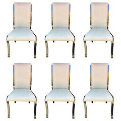 Set of Six Design Institute America Ostrich Leather Dining Chairs