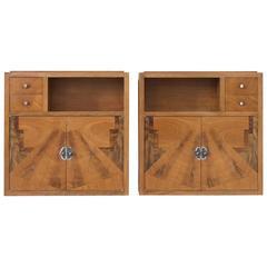 Set of Two Art Deco Nightstands with Wooden Inlayed Doors