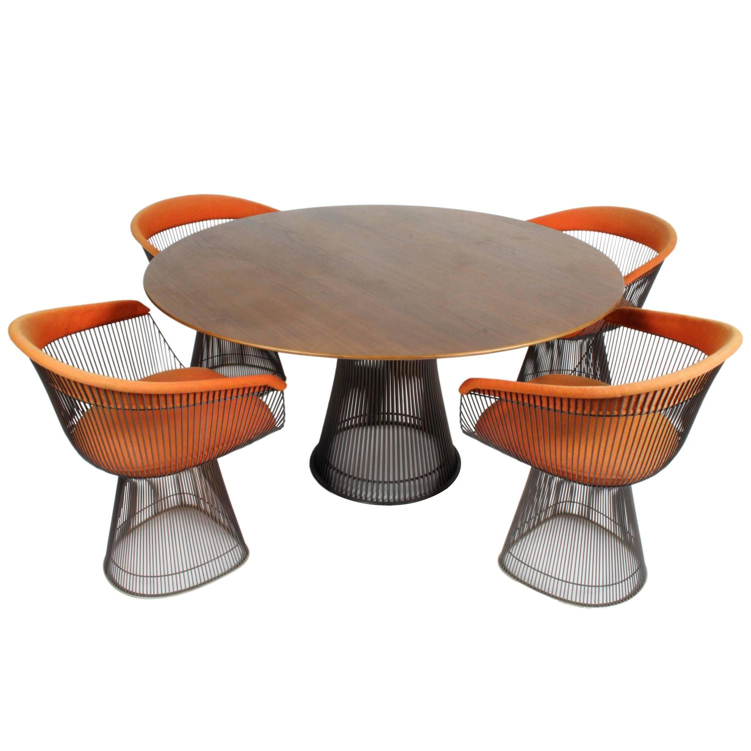 Warren Platner Furniture Intended Warren Platner Bronze Dining Set For Knoll Circa 1960s Teak Top At 1stdibs