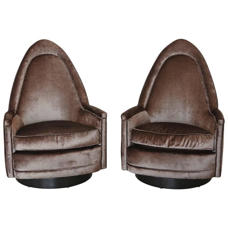 Pair of Petite Sculptural Memory Swivel Chairs in Grey Velvet by Milo Baughman