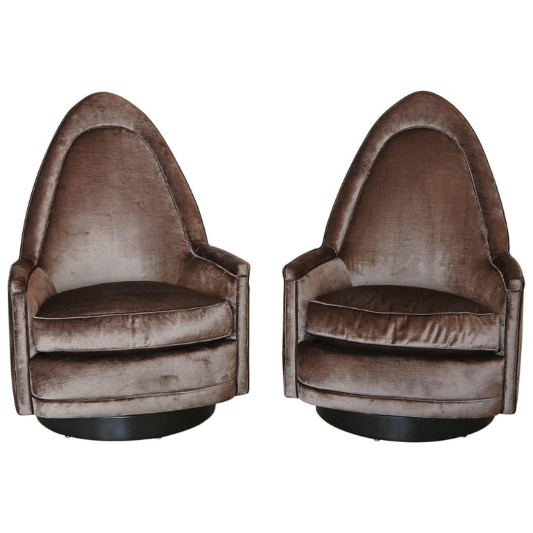 Pair of Sculptural Memory Swivel Chairs in Grey Velvet by Milo Baughman For Sale