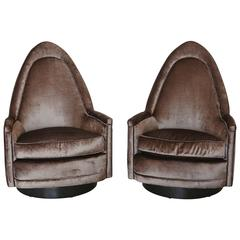Pair of Petite Sculptural Memory Swivel Chairs in Grey Velvet by Milo Baughman