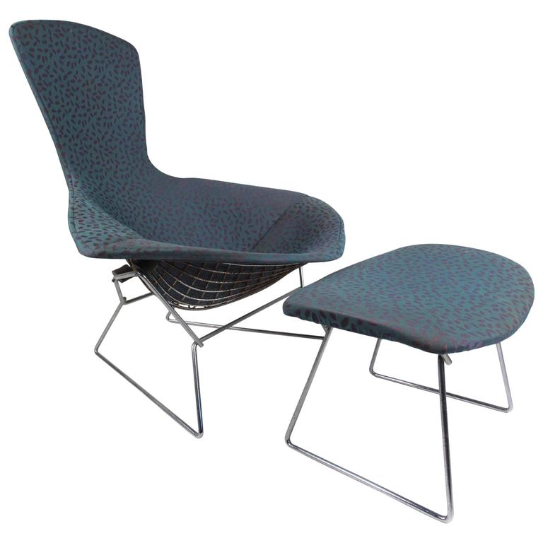 "Harry Bertoia ""Bird"" Chair with Ottoman by Knoll Furniture"