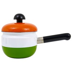 Cook with Carl Auböck Enameled Pot with Lid by Riess, Austria, 1970s