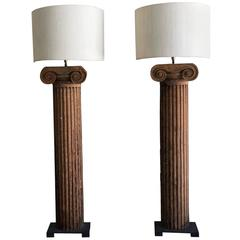 Pair of 19th Century French Architectural Column Fragments as Lamps