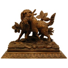 Black Forest Carving of Hunting Dog with Rabbit