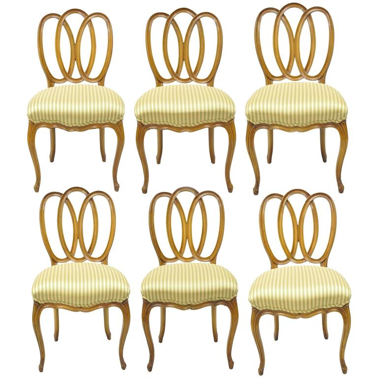 Set of Six Triple Oval Back Walnut Dining Side Chairs French Country Provincial