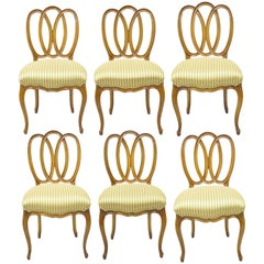 Set of 6 Vintage French Provincial Triple Oval Pretzel Back Walnut Dining Chairs